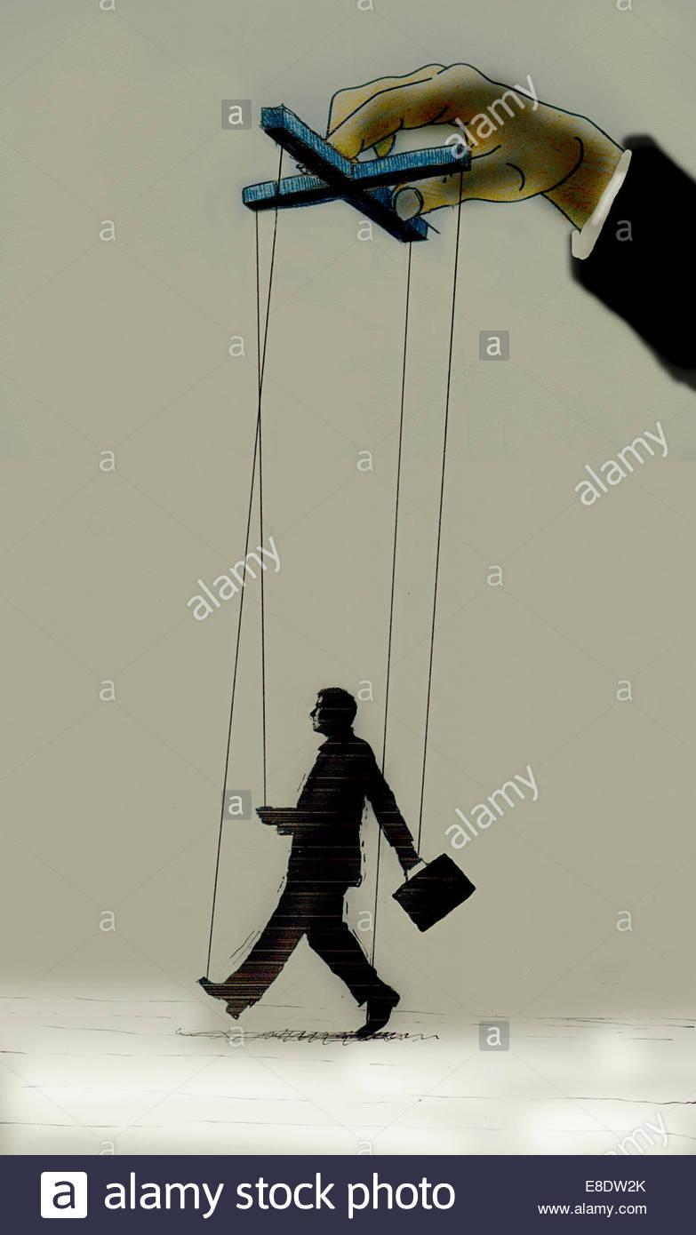 Cadenas que controla el lado del empresario títeres Imagen De Stock