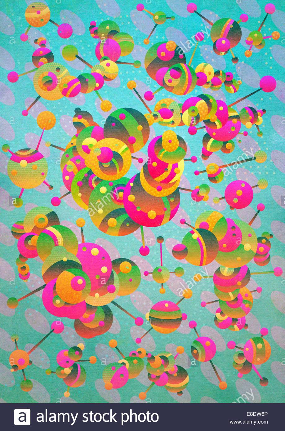 Abstract moléculas conectado Imagen De Stock