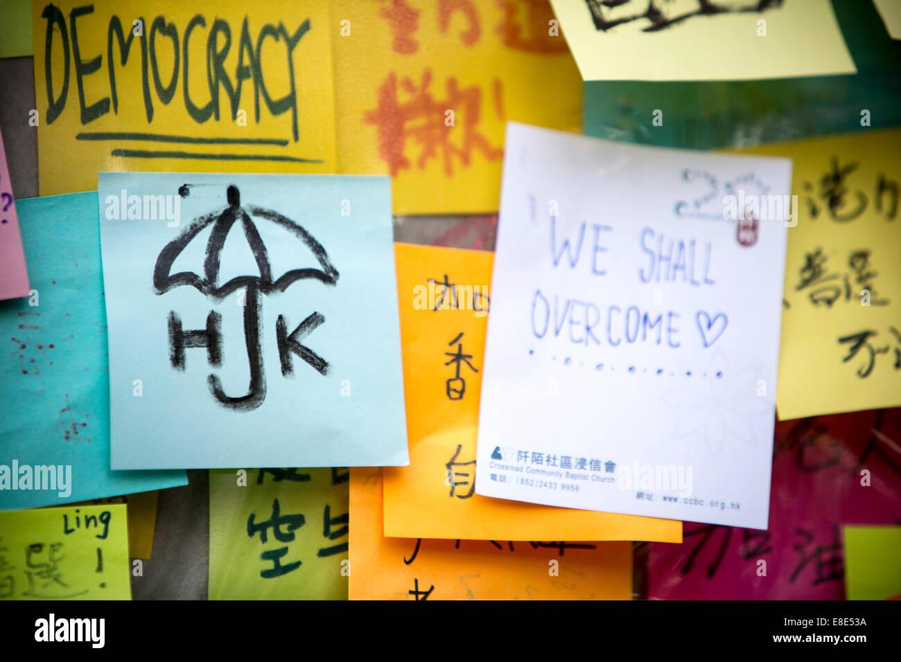 Paraguas revolución en Hong Kong, que luchan por la democracia Imagen De Stock