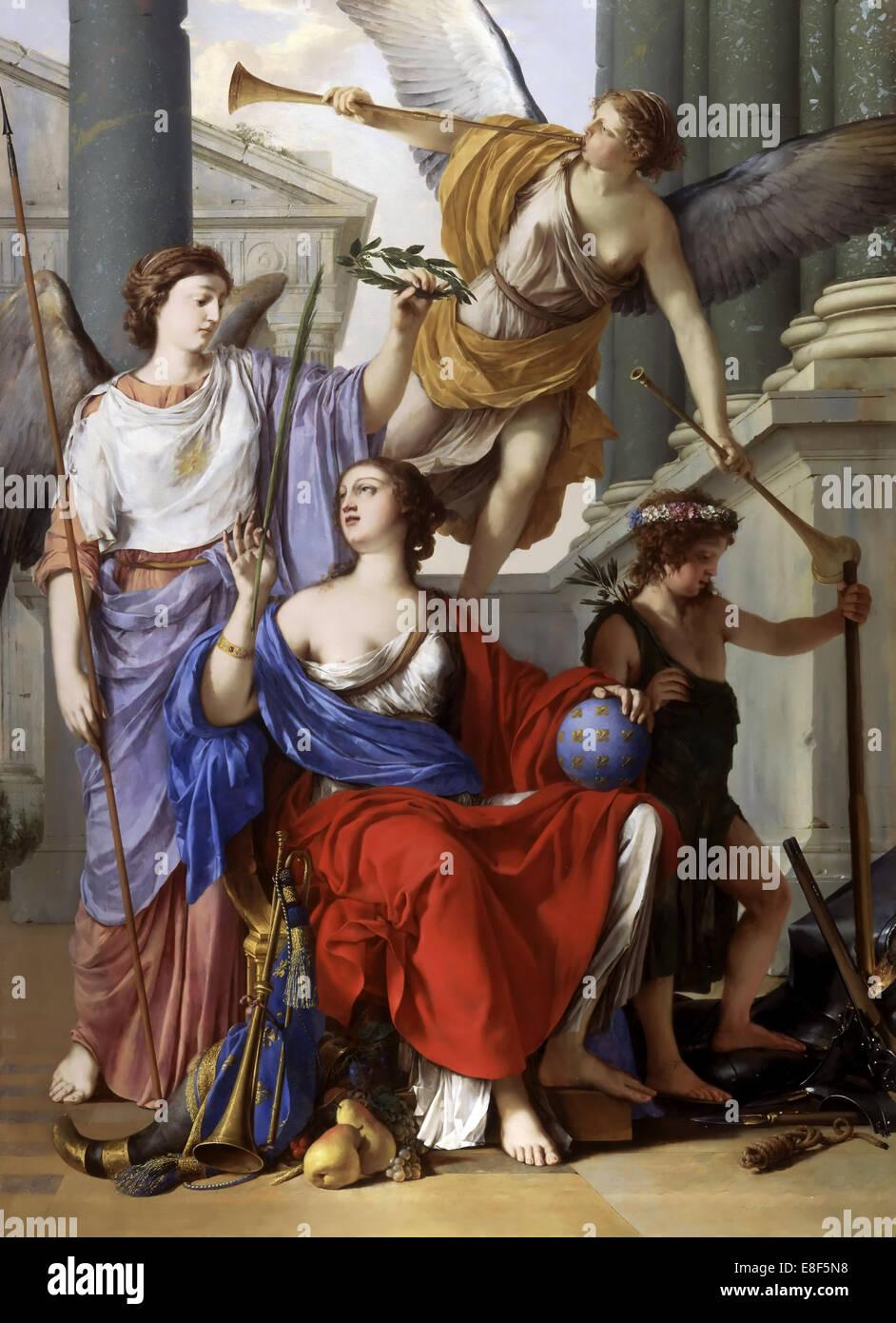 Alegoría de la regencia de Ana de Austria. Artista: La Hyre, Laurent, de (1606-1656) Imagen De Stock