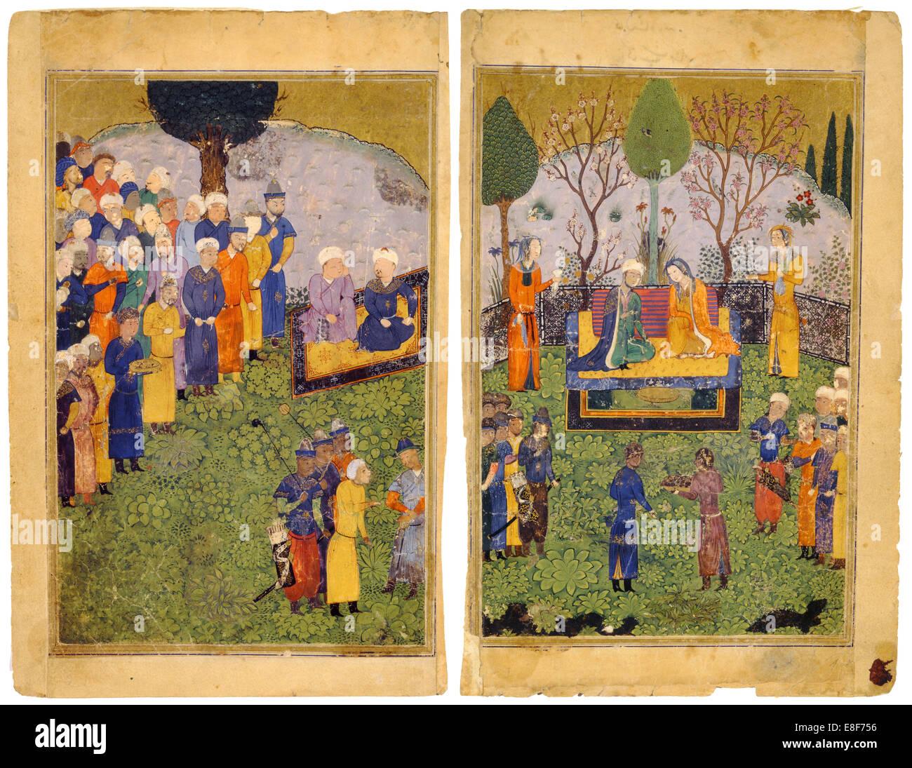 Una pareja principesca con cortesanos en un jardín. Desde el Shahnama (Libro de los Reyes). Artista: maestro iraní Foto de stock