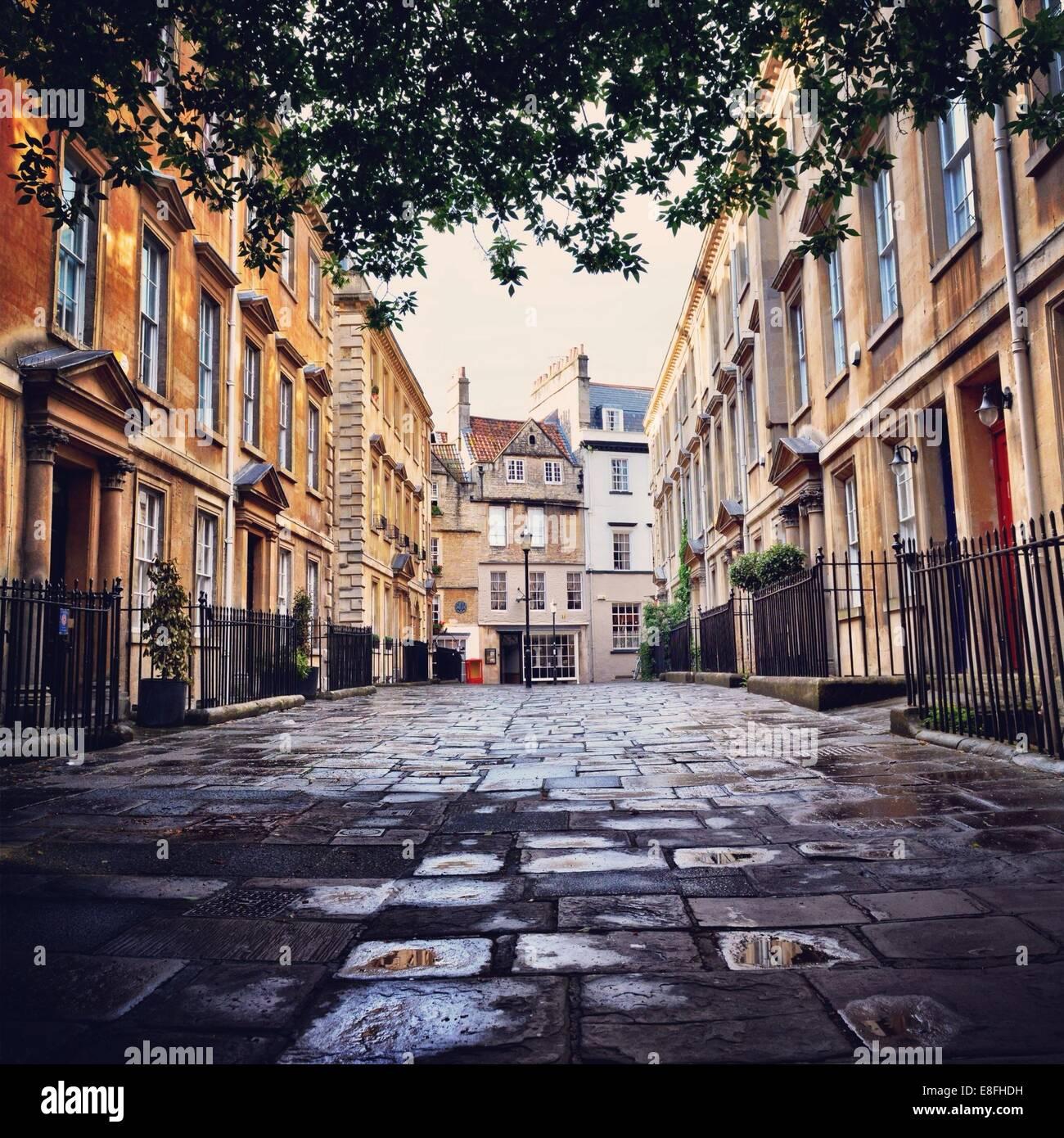Reino Unido, Somerset, bañera, tranquilo callejón Imagen De Stock