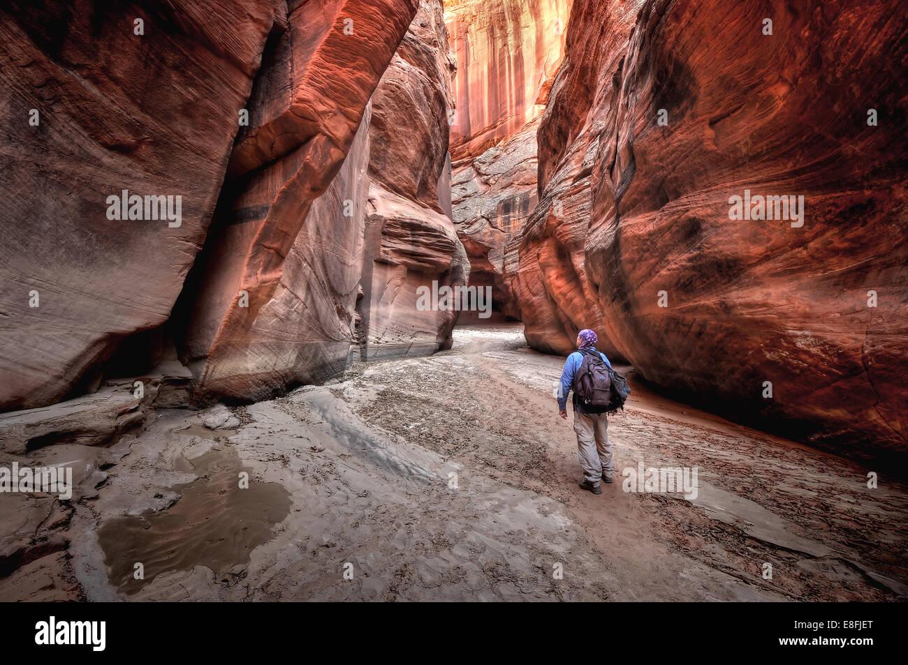 Estados Unidos, Utah, Paria Canyon-Vermilion Cliffs Wilderness, Persona Senderismo en Buckskin Gulch Imagen De Stock