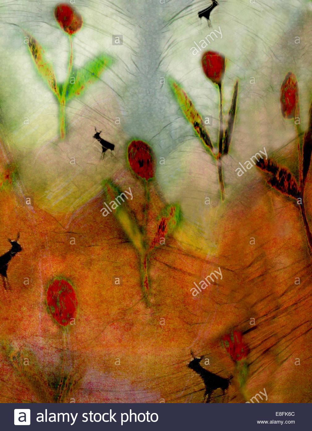 Resumen de flores rojas Imagen De Stock