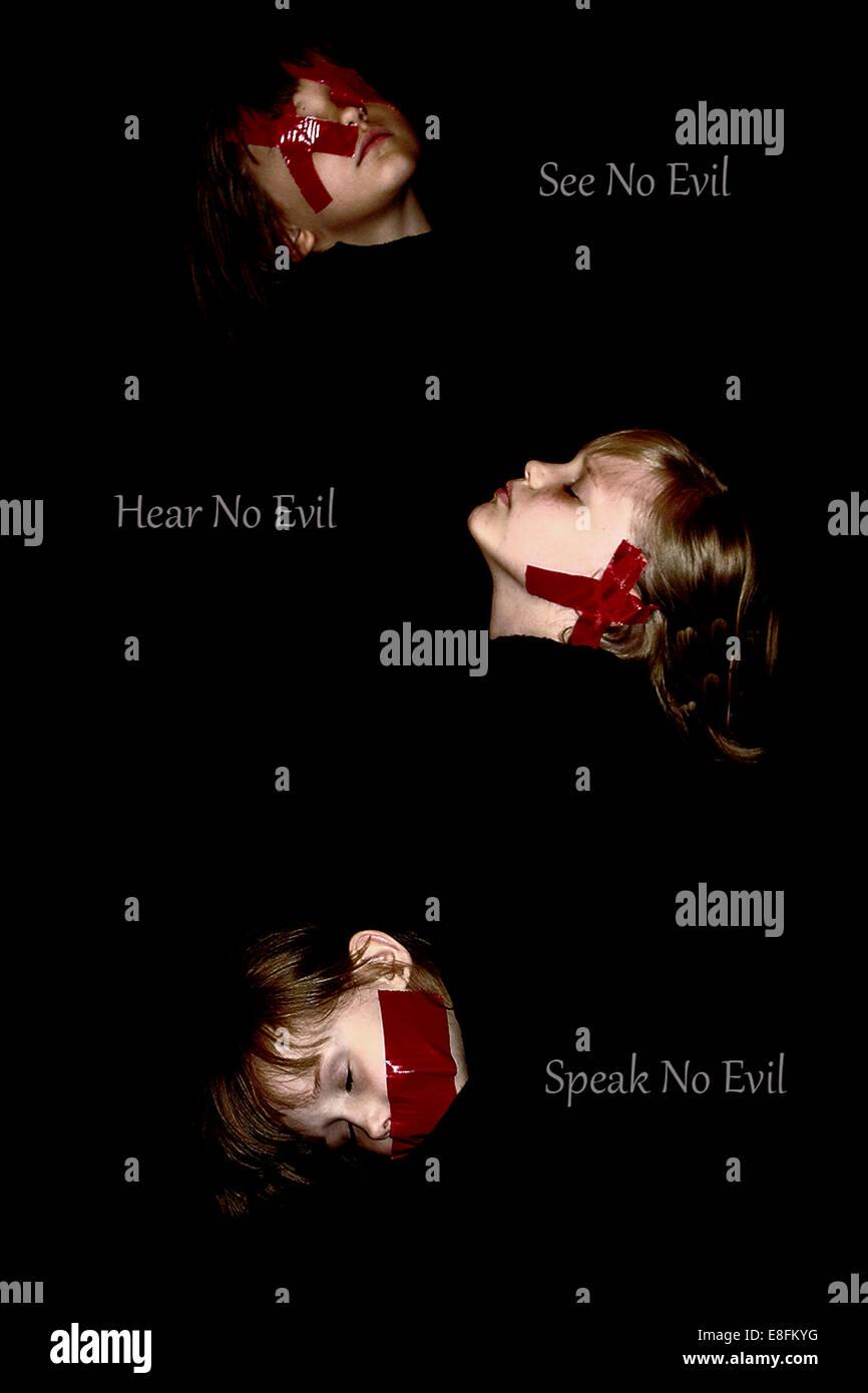 No oír nada malo, no hablan mal, no ven mal Imagen De Stock