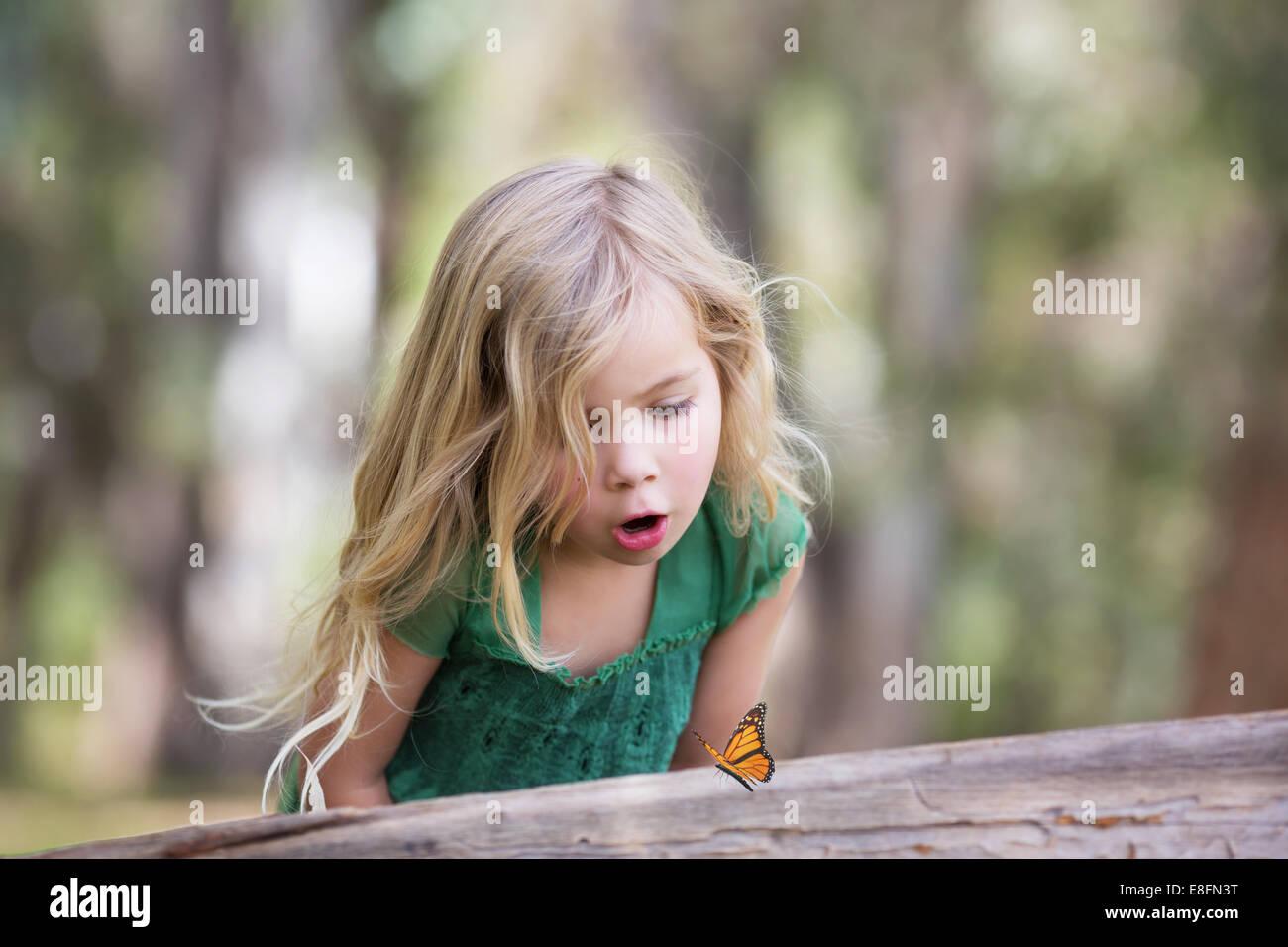 Chica (4-5) mirando en registro de mariposa Imagen De Stock