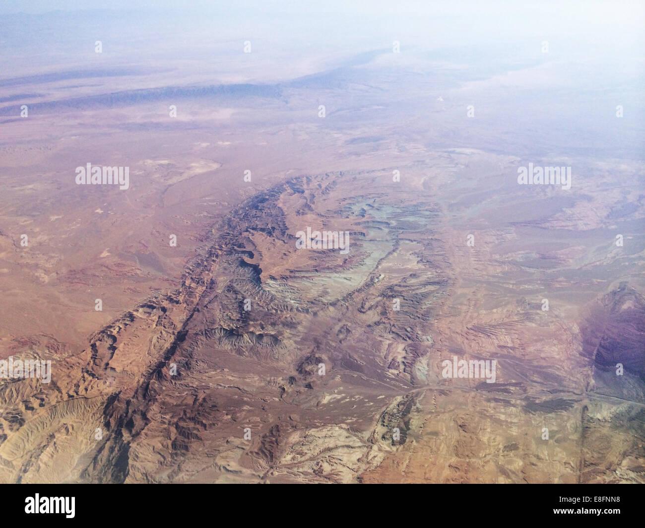 Irán, Kurdistán, vista aérea de los Montes Zagros gama Foto de stock