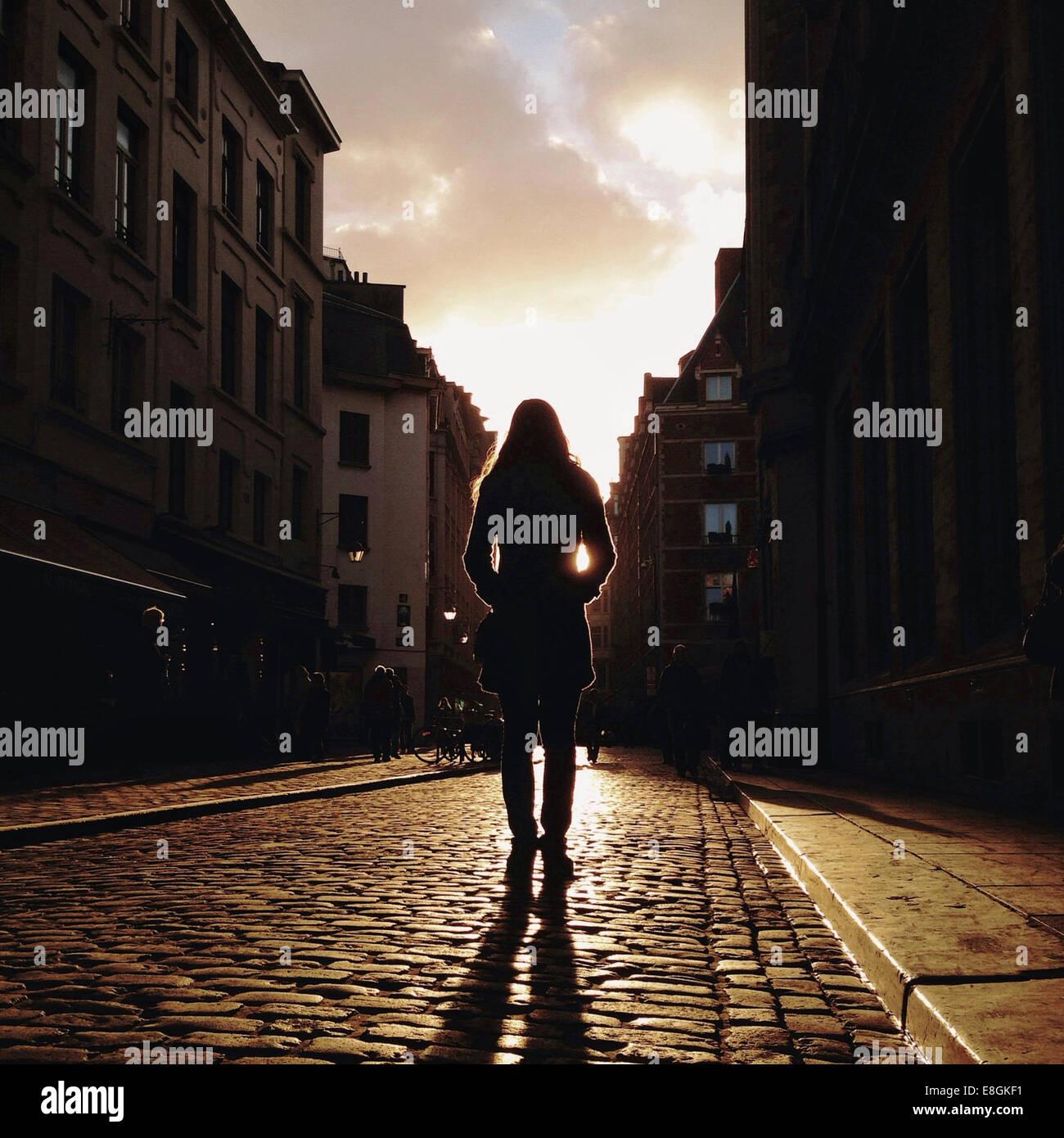 Vista trasera de la mujer de pie en la calle Imagen De Stock