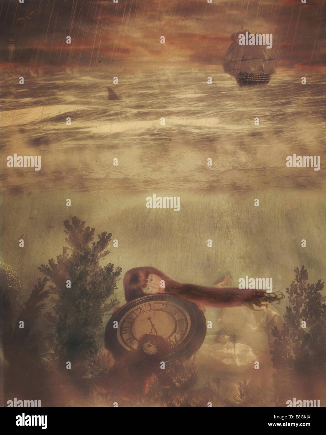 Ilustración de Chica sujetando submarino reloj grande Imagen De Stock