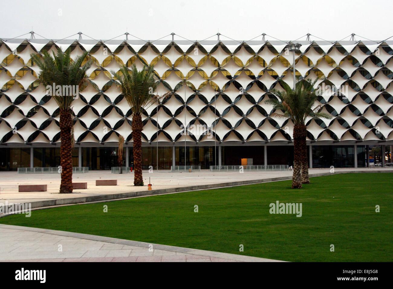 Fachada de King Fahad National Library en Riyadh, Arabia Saudita Imagen De Stock