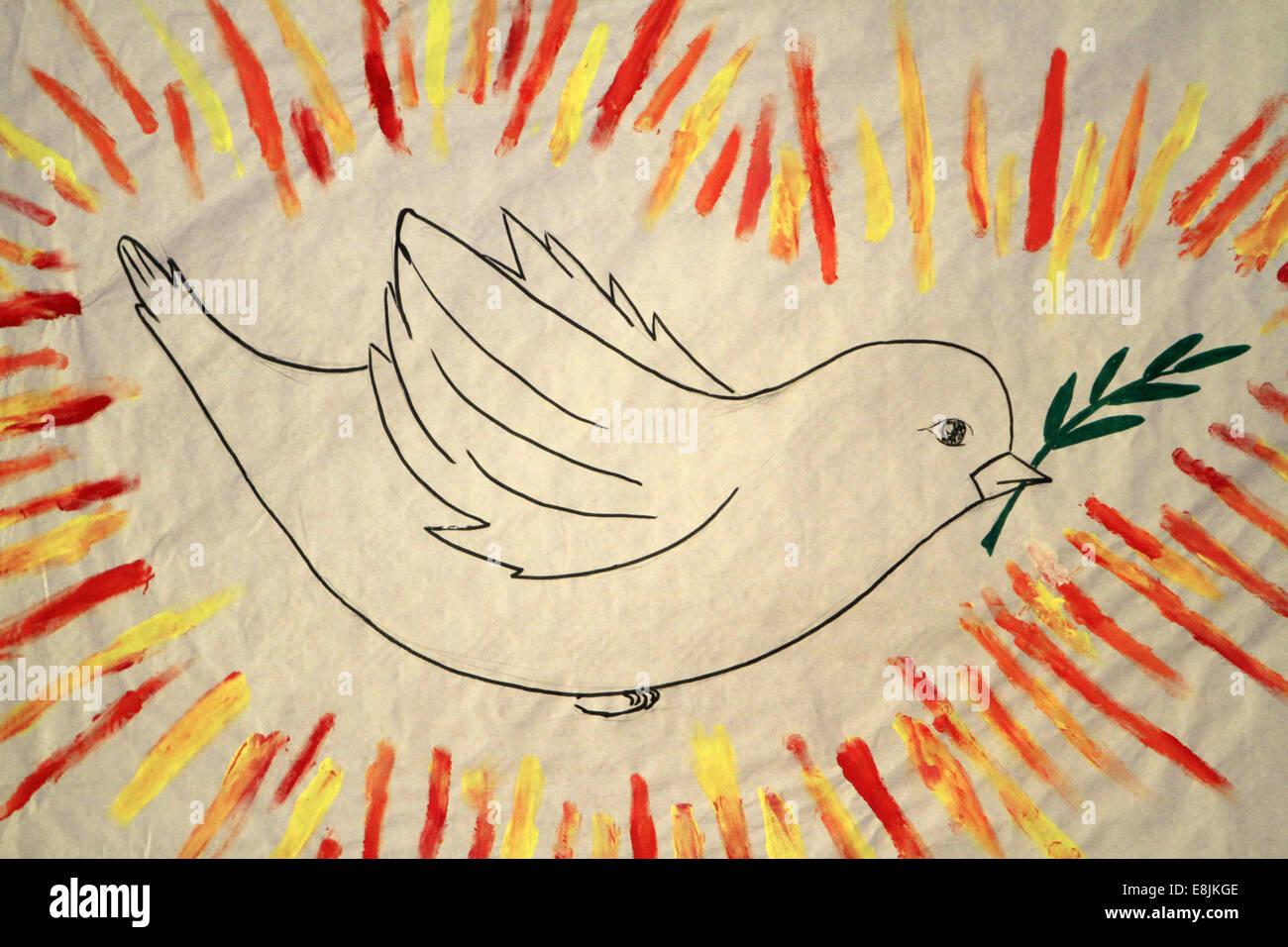 Dibujo de la paloma de la paz. Imagen De Stock
