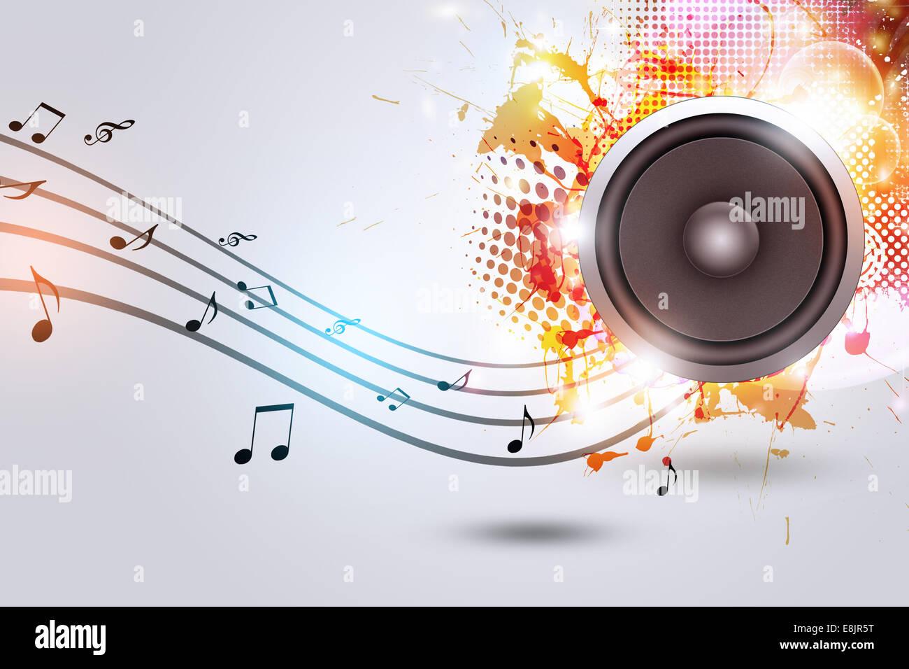 Altavoz de sonido de fondo m sica con notas musicales y for Altavoz de musica