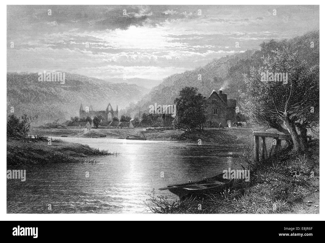 La ABADÍA DE TINTERN Moonlight en el Wye. Por B.W. Líder grabado por C. Cousen, c. 1870 Imagen De Stock
