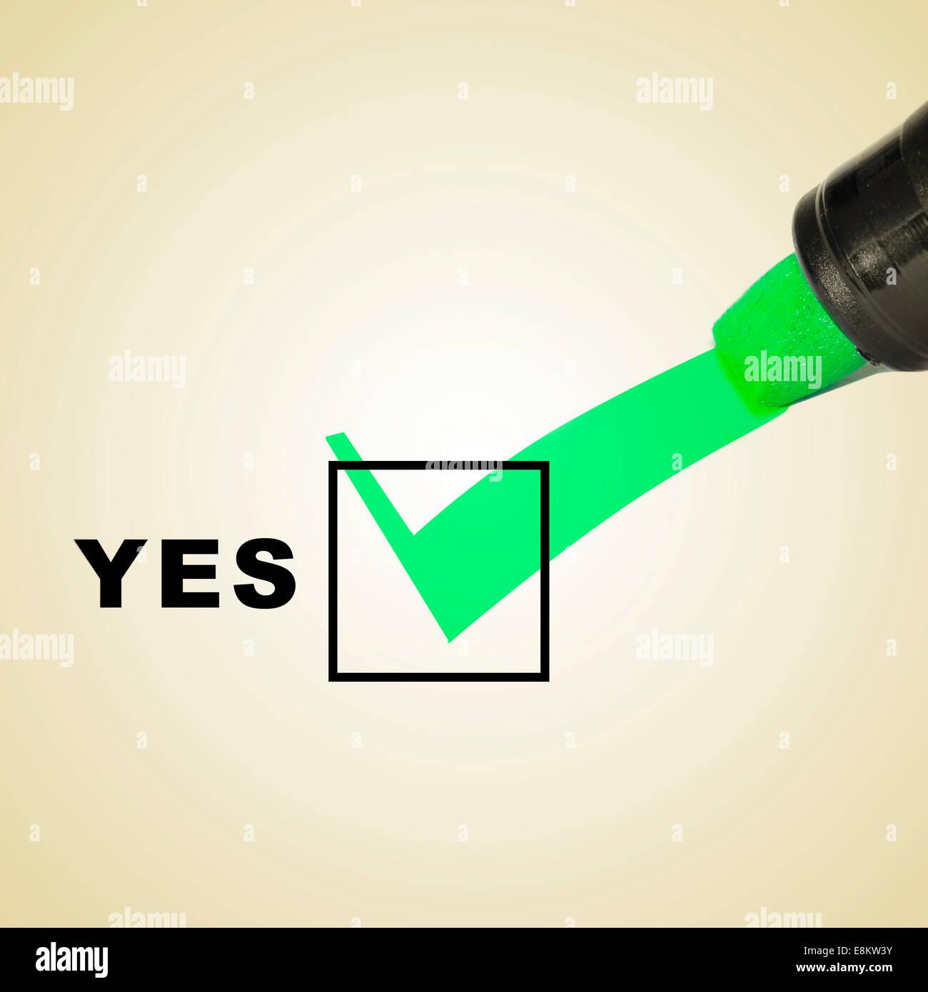 Una marca de verificación verde dibuja con un rotulador en un checbox con la palabra yes Imagen De Stock