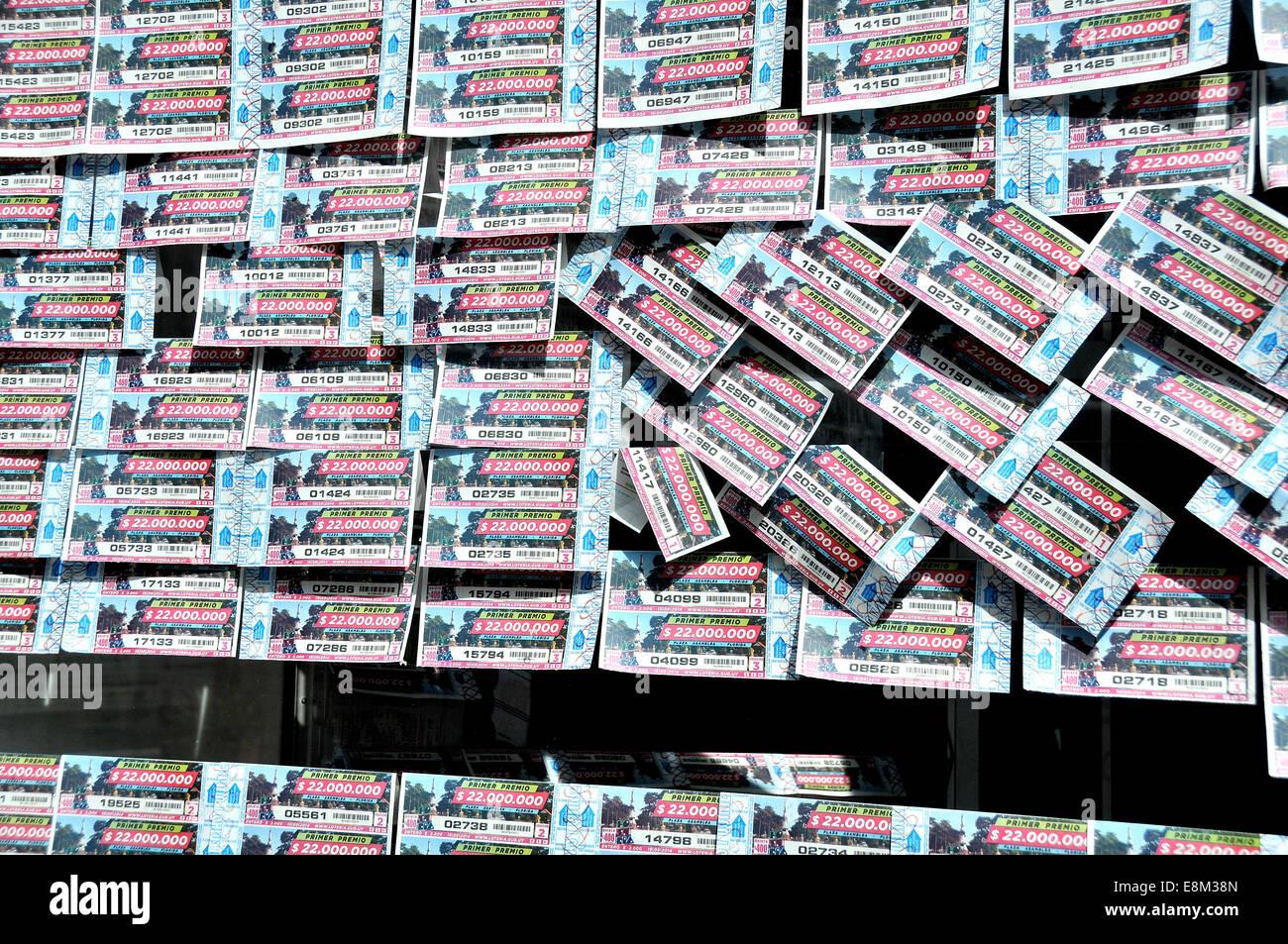 Los boletos de la lotería Montevideo Uruguay Imagen De Stock