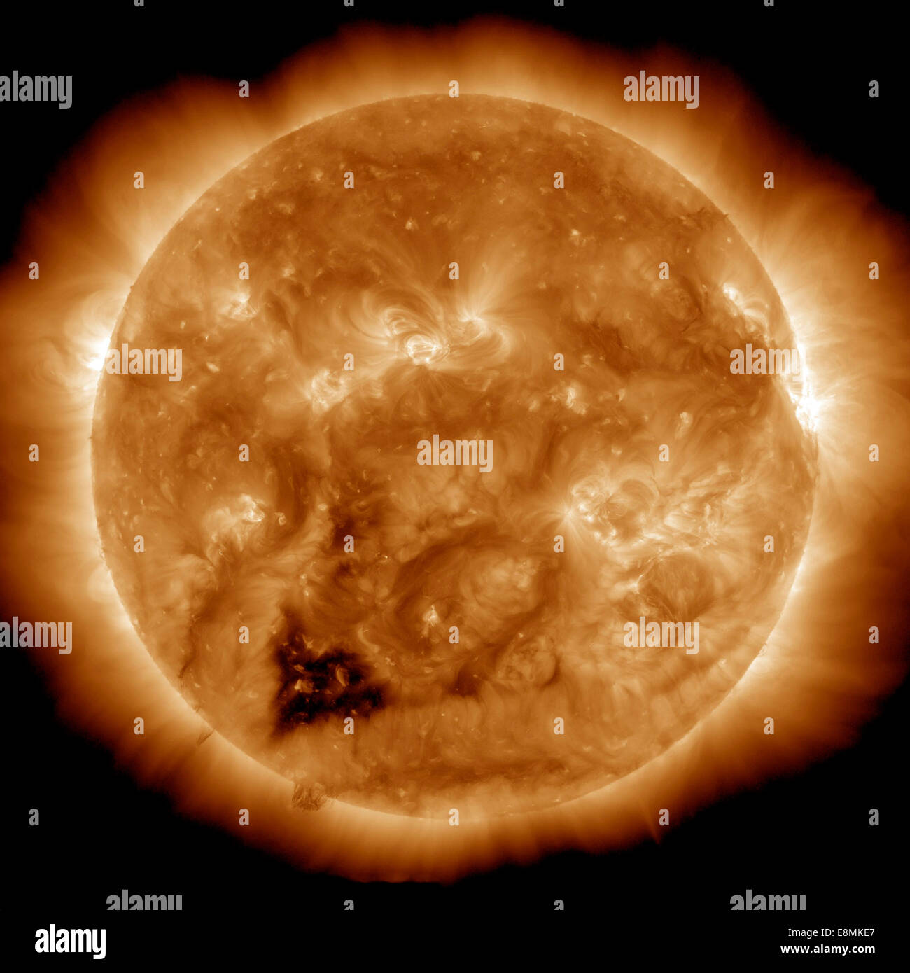 Enero 20, 2013 - Imagen del Sol en luz ultravioleta extrema capta una forma de corazón oscuro agujero coronal. Imagen De Stock