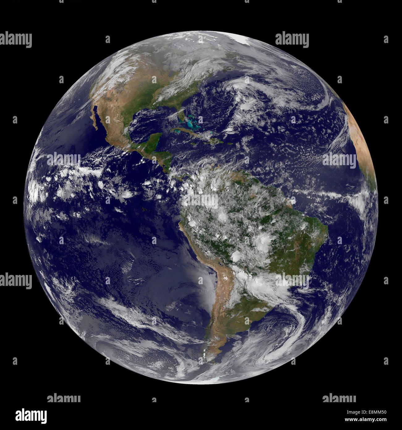 Abril 22, 2014 - Vista satélite de las Américas sobre el Día de la tierra. Imagen De Stock