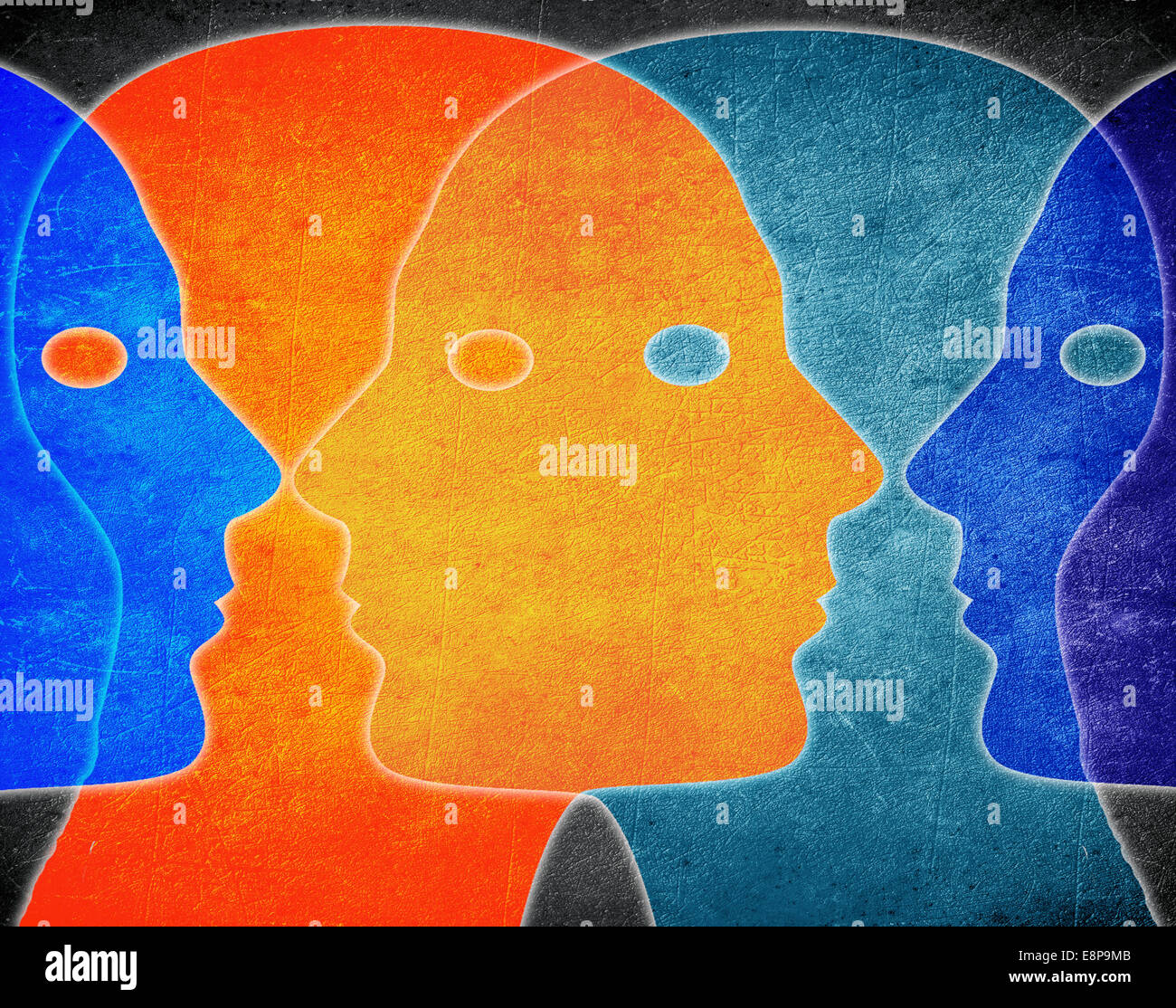 Cuatro jefes de colores ilustración digital Imagen De Stock