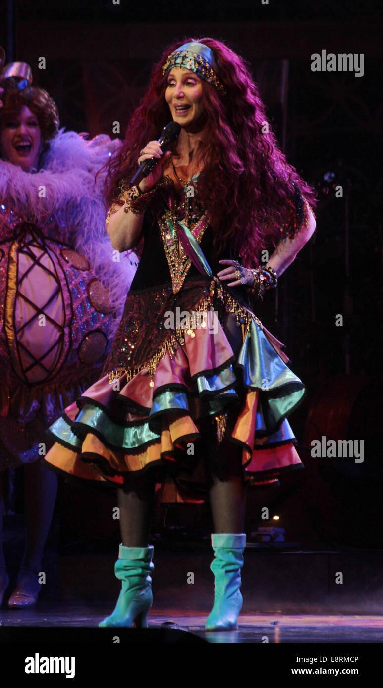 BOSTON, MA - Abril 09: Cher realiza en concierto en TD Garden el 9 de abril de 2014 en Boston, Massachusetts. El Imagen De Stock