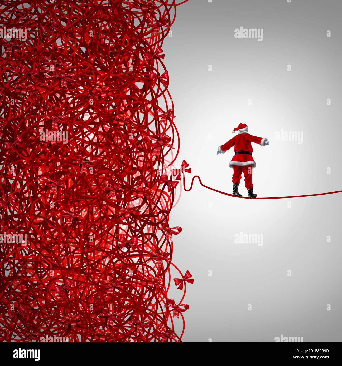 Santa Claus de vacaciones y la libertad de gestión de crisis de regalos como un concepto con santaclause como Imagen De Stock