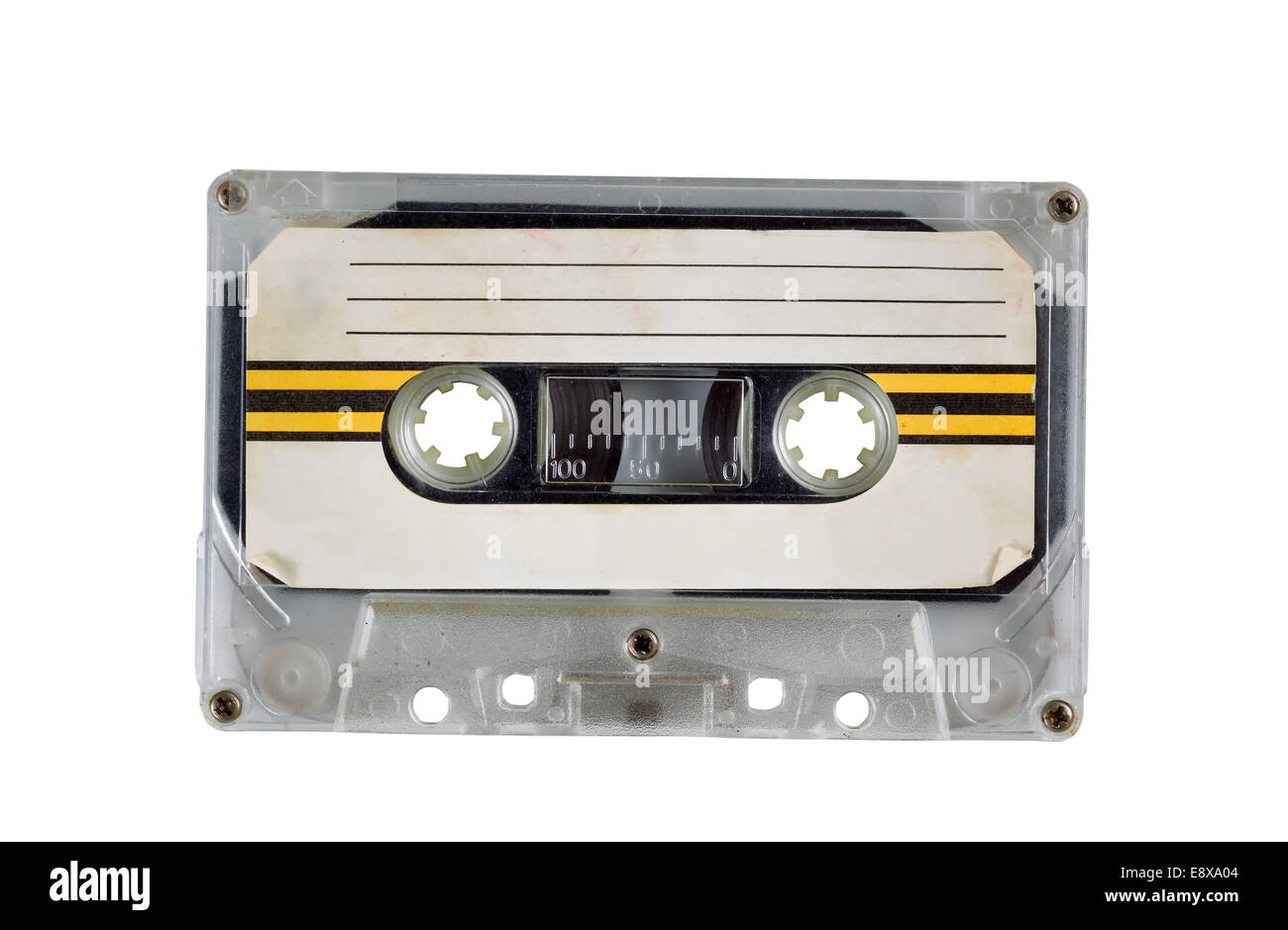 Cartucho de cinta de casete vieja sobre blanco Imagen De Stock