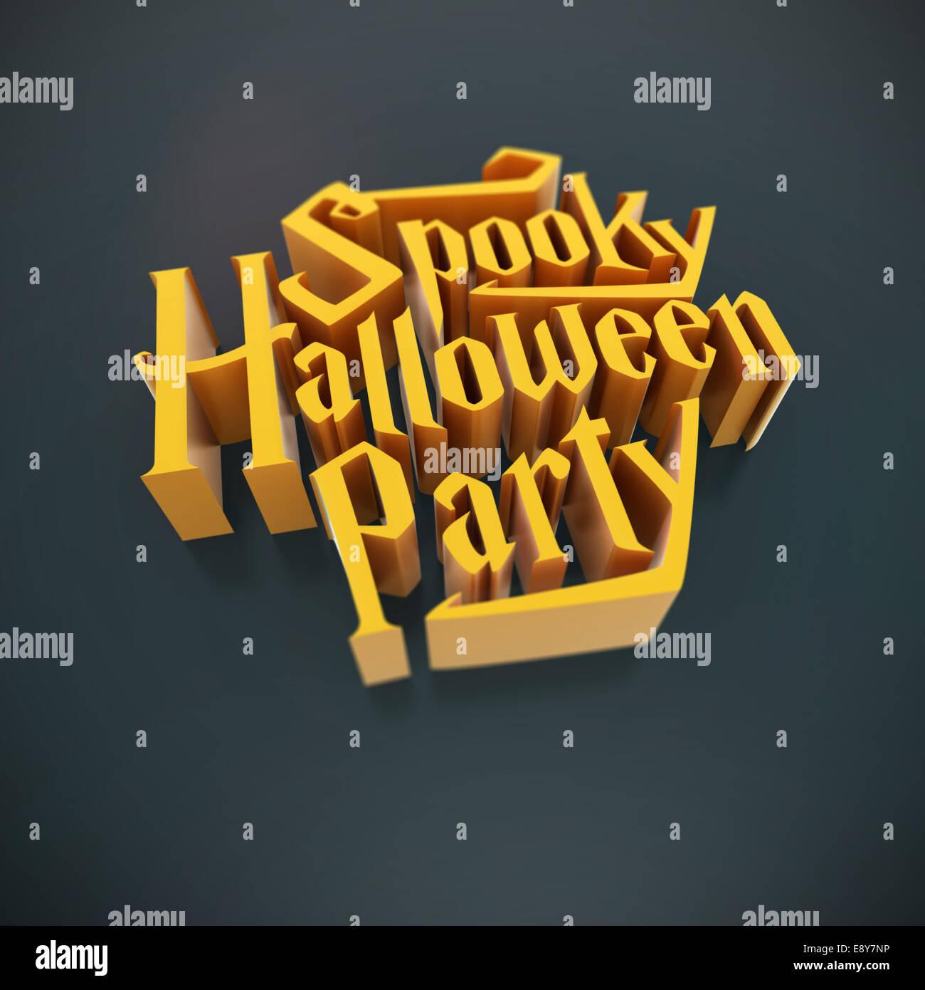 Spooky Halloween Party Naranja Calabaza Letras 3d Para Poster
