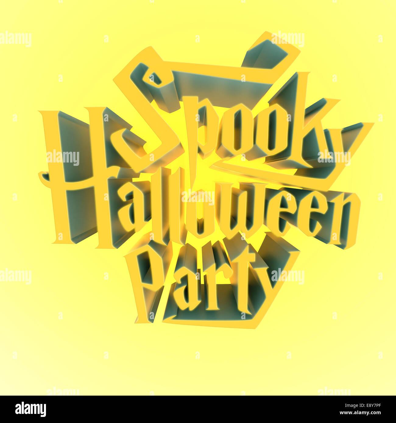 Spooky Halloween Party Glowing Suny Letras 3d Para Poster Plantilla