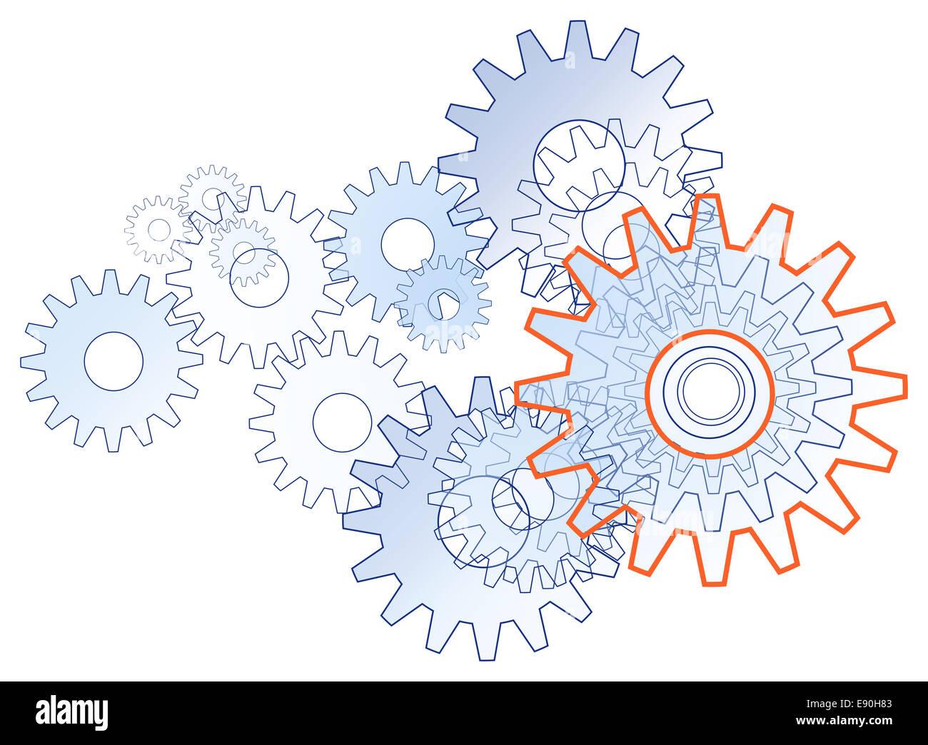 Equipo de engranaje simbólico libre de tecnología Imagen De Stock