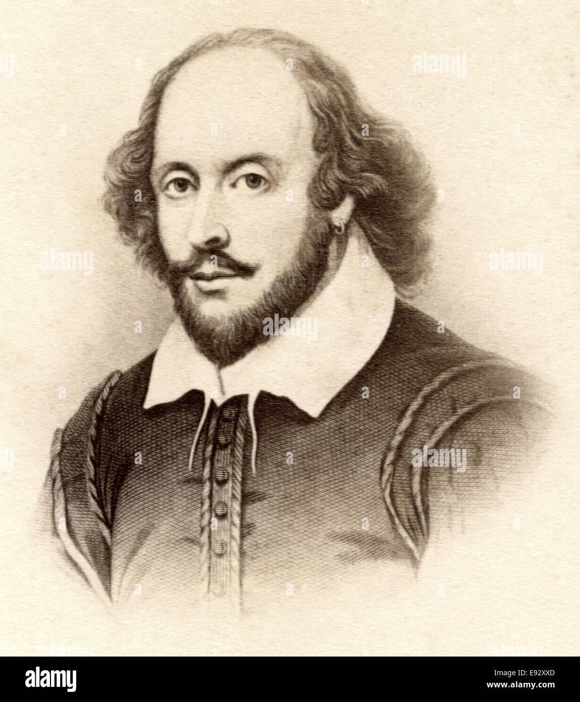 William Shakespeare (1564-1616), poeta inglés, dramaturgo y actor, ampliamente reconocido como el mayor dramaturgo, Retrato Foto de stock