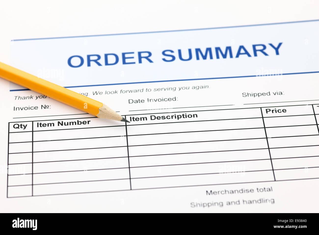 Formulario de resumen del pedido y lápiz Imagen De Stock
