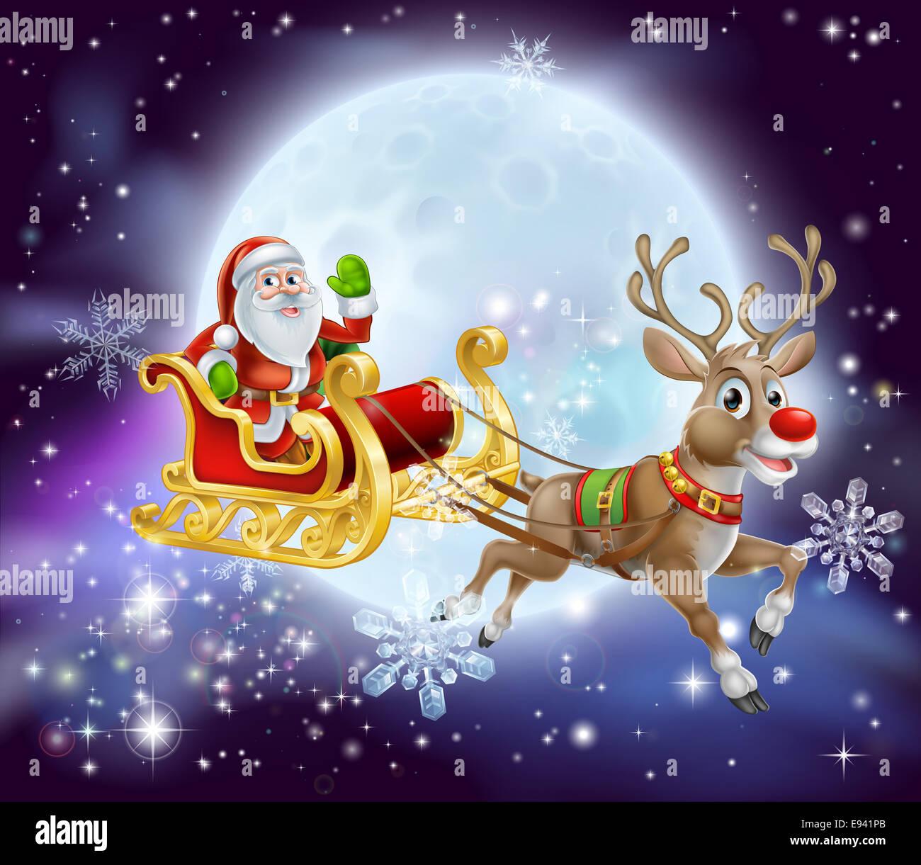 Imagenes De Papa Noel Animado.Ilustracion De Dibujos Animados De Navidad De Papa Noel En