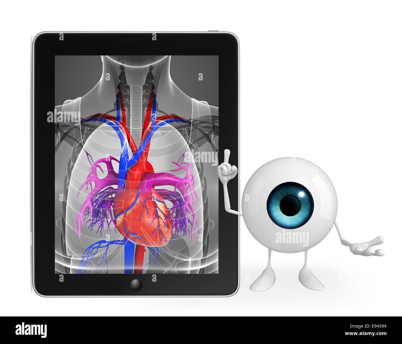 Personaje de dibujos animados de ojo con la anatomía del corazón ...