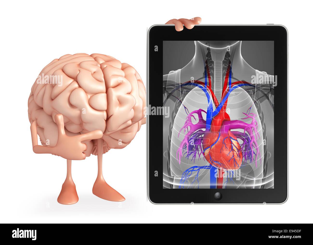 Personaje de dibujos animados de cerebro con corazón Anatomía Foto ...