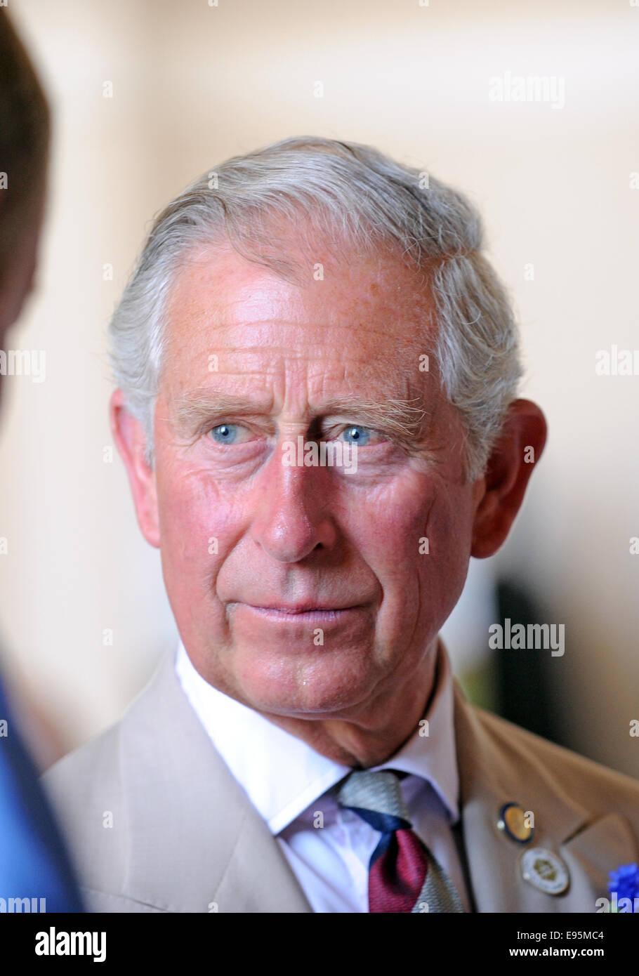 Un ambiente relajado y sonriente el Príncipe Carlos durante una participación pública en Sussex Imagen De Stock