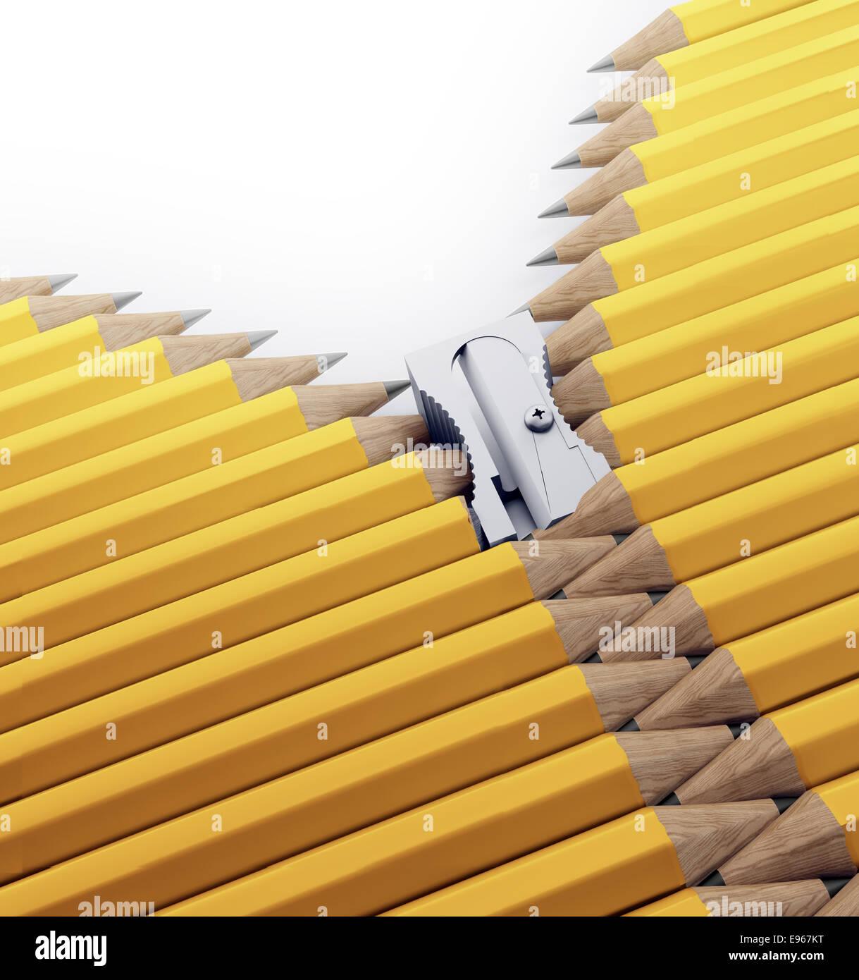 Una fila de lápices y sacapuntas formando una cremallera - escuela de artes, la creatividad y la ilustración Imagen De Stock
