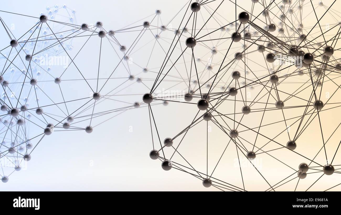 Resumen Las redes 3D - concepto de comunicación y de internet Foto de stock