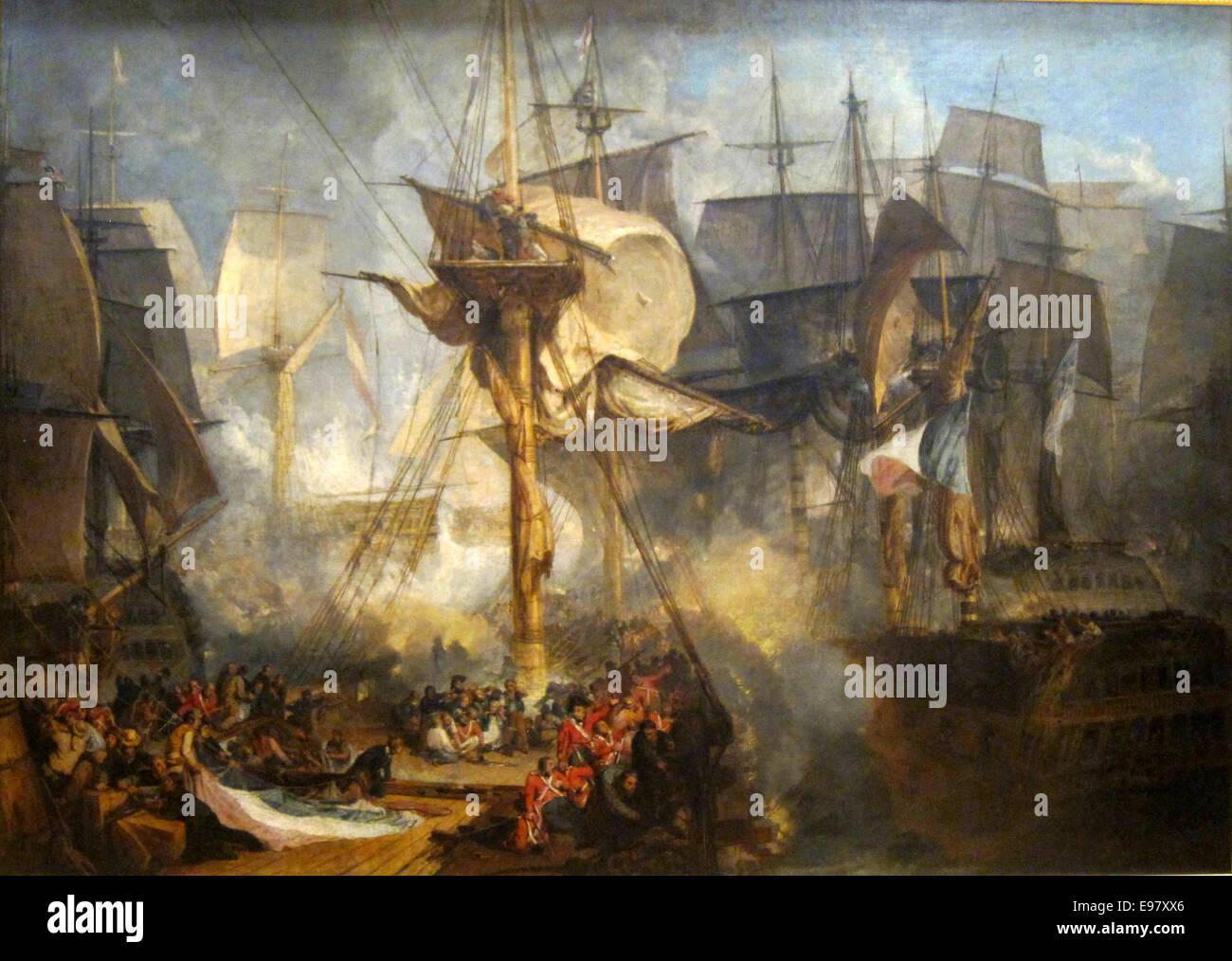 La batalla de Trafalgar por Joseph Mallord William Turner Foto de stock