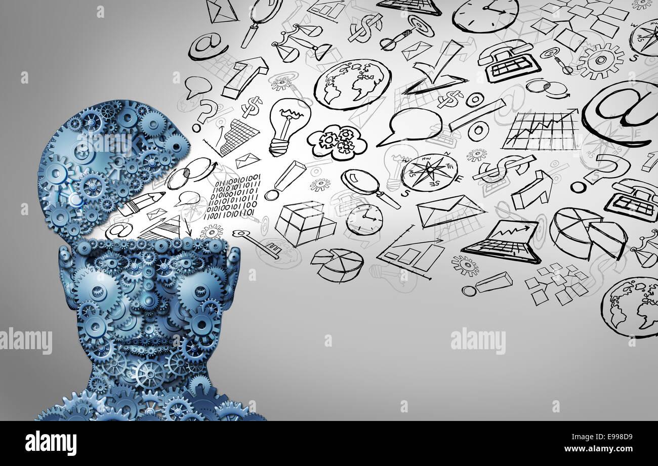 El pensamiento comercial y el pensamiento empresario concepto como abrir cabeza humana hecha de engranajes con iconos Imagen De Stock