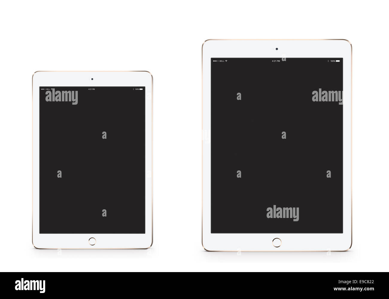 Tabletas iPad 3 iPad mini air 2 oro con la pantalla en blanco, generada digitalmente ilustraciones. Imagen De Stock