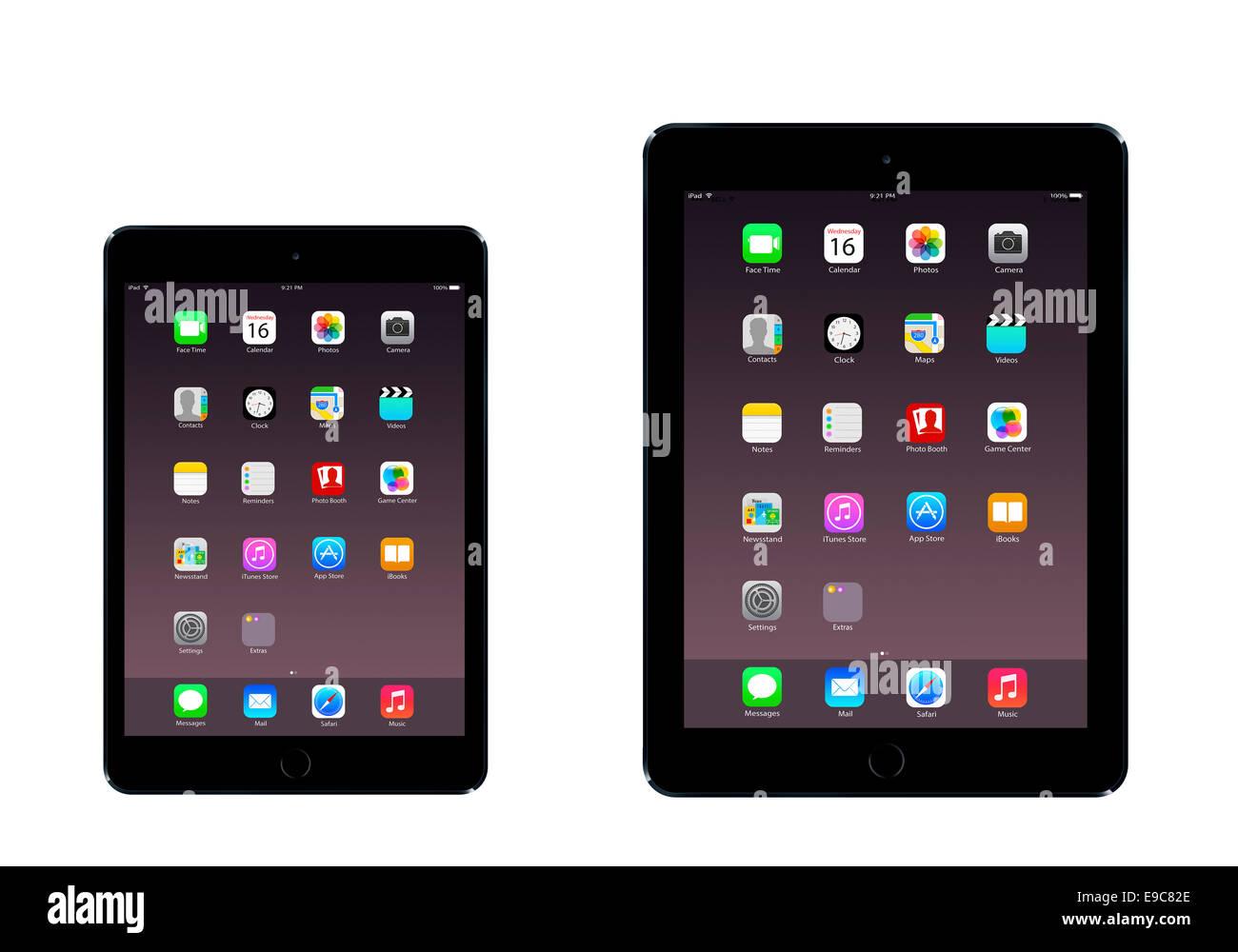 Tabletas iPad 3 iPad mini air 2 (espacio gris) con aplicaciones generadas digitalmente, obras de arte. Imagen De Stock