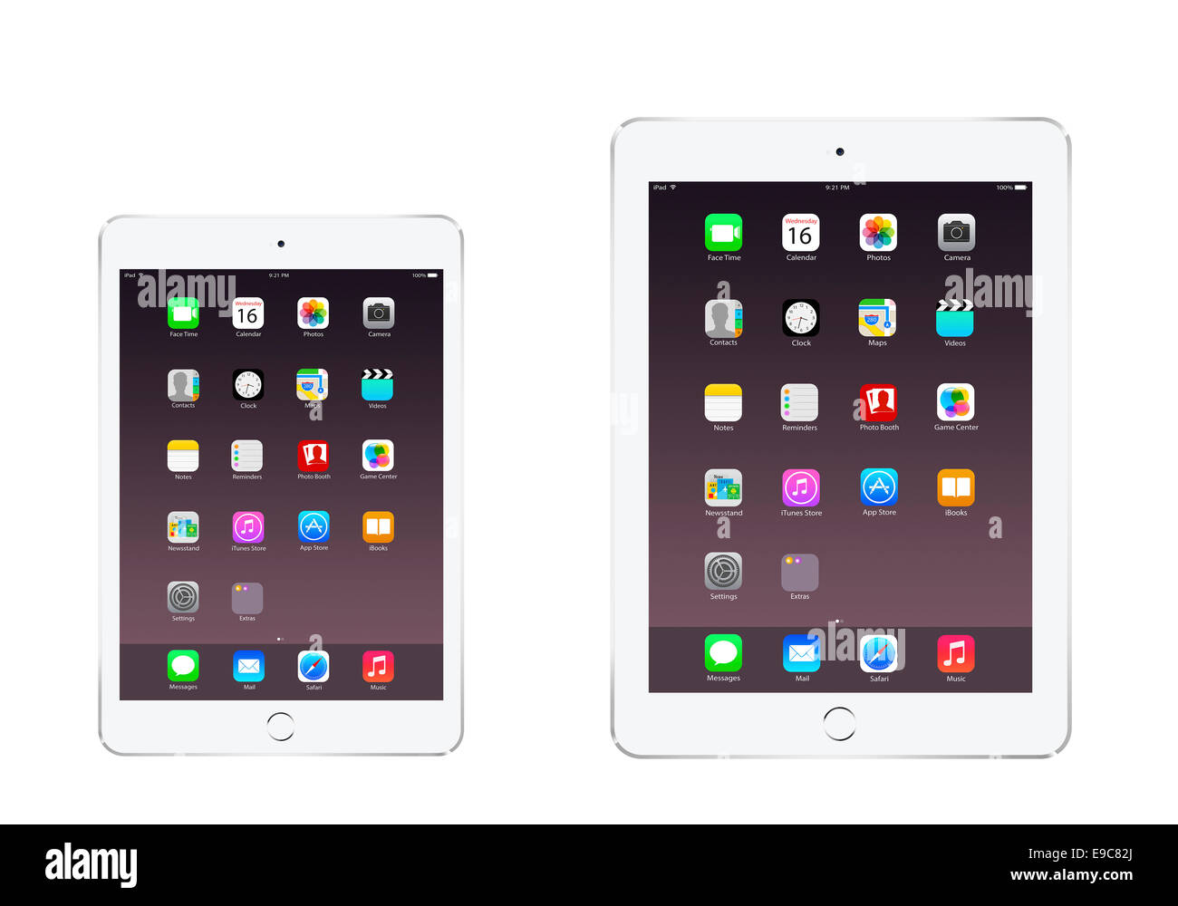 Tabletas iPad 3 iPad mini air 2 plata con aplicaciones generadas digitalmente, obras de arte. Imagen De Stock