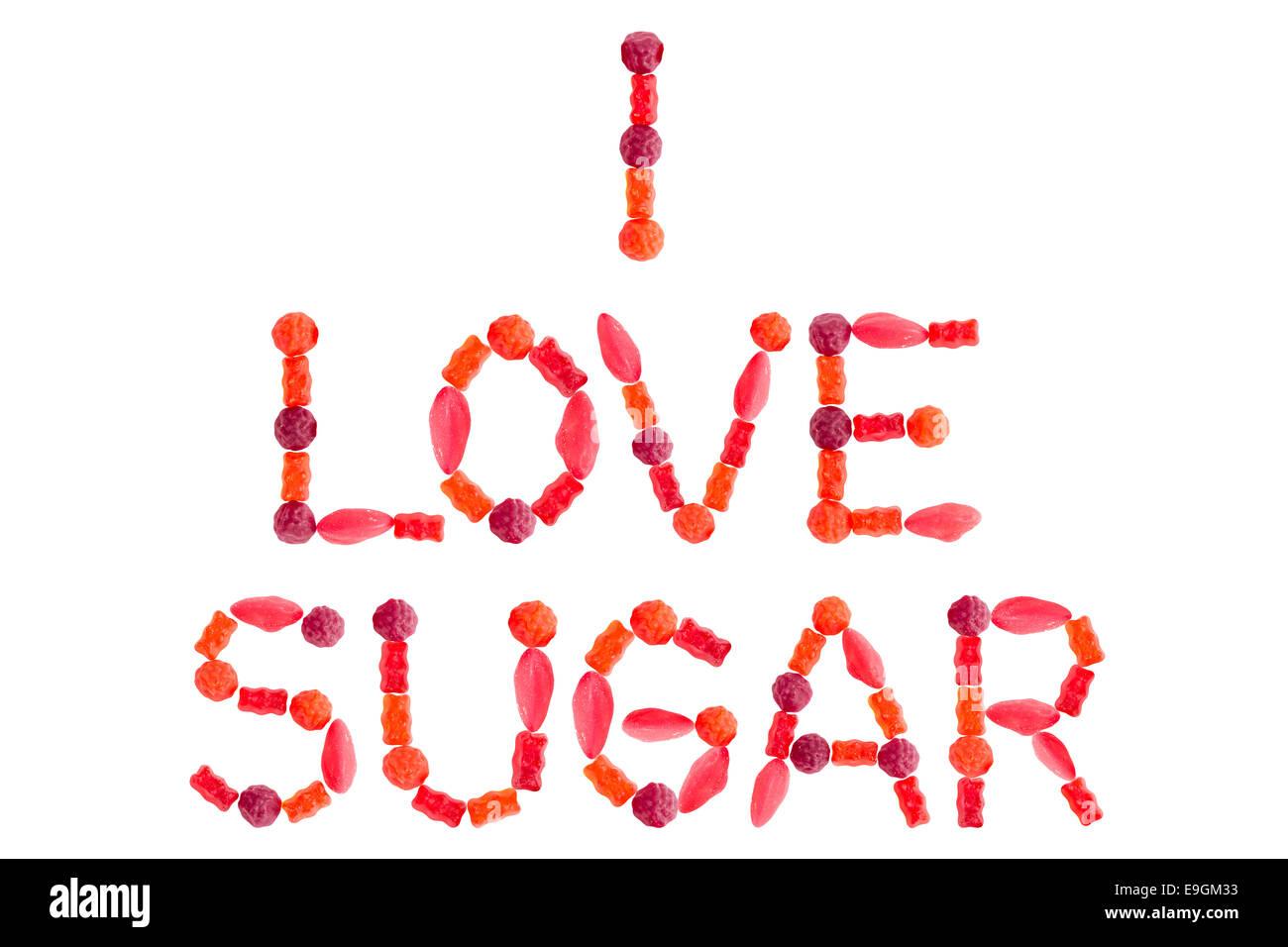 Me Encanta La Frase Hecha De Azúcar Caramelos Dulces Rojos