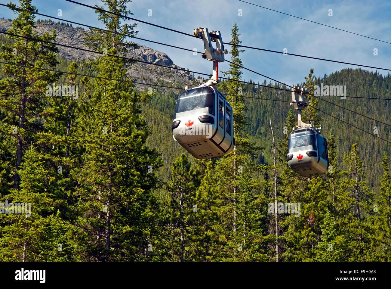Sulphur Mountain Gondola, Parque Nacional de Banff Imagen De Stock