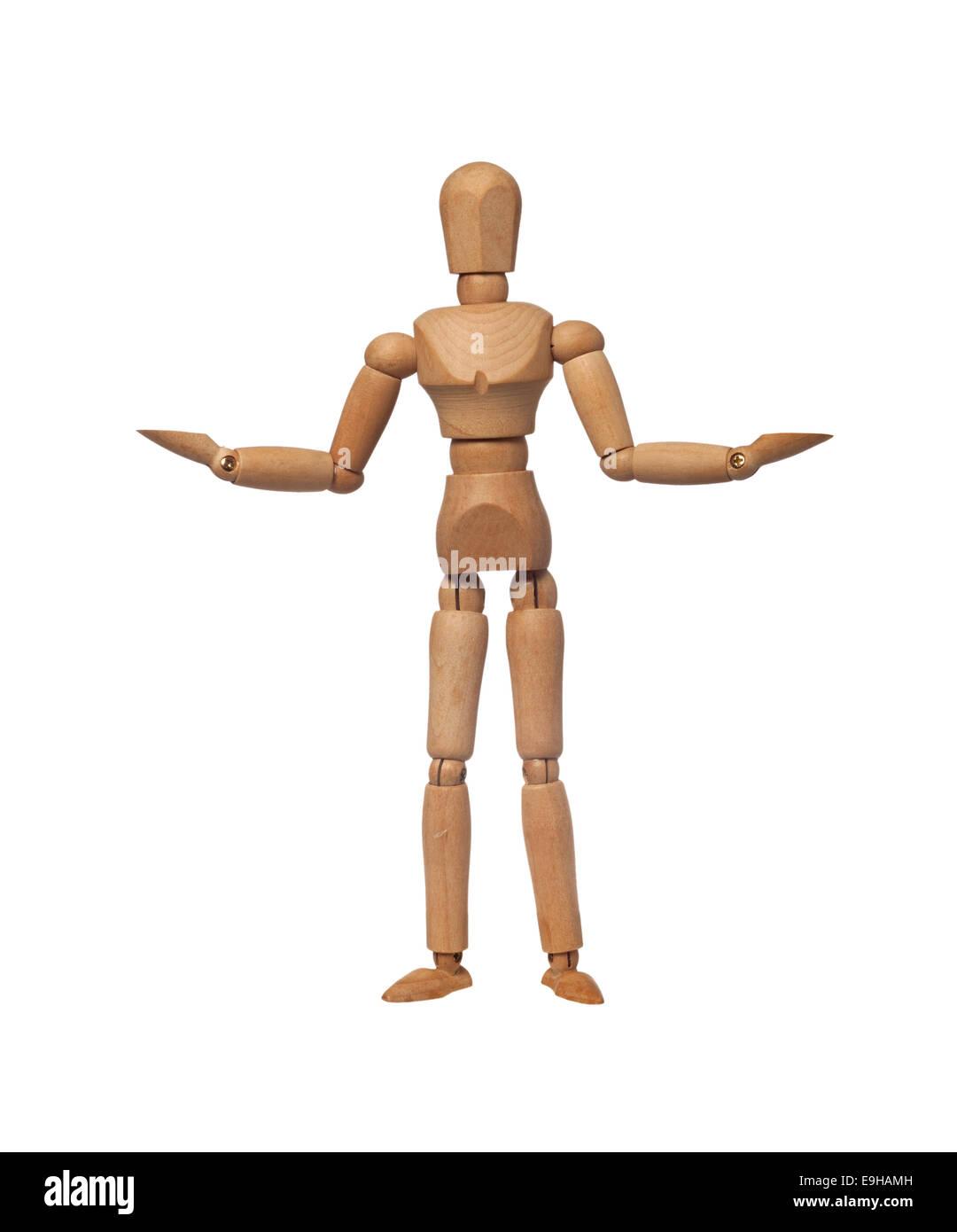 Pesaje de figurillas de ambos lados con sus manos aislado sobre fondo blanco. Foto de stock