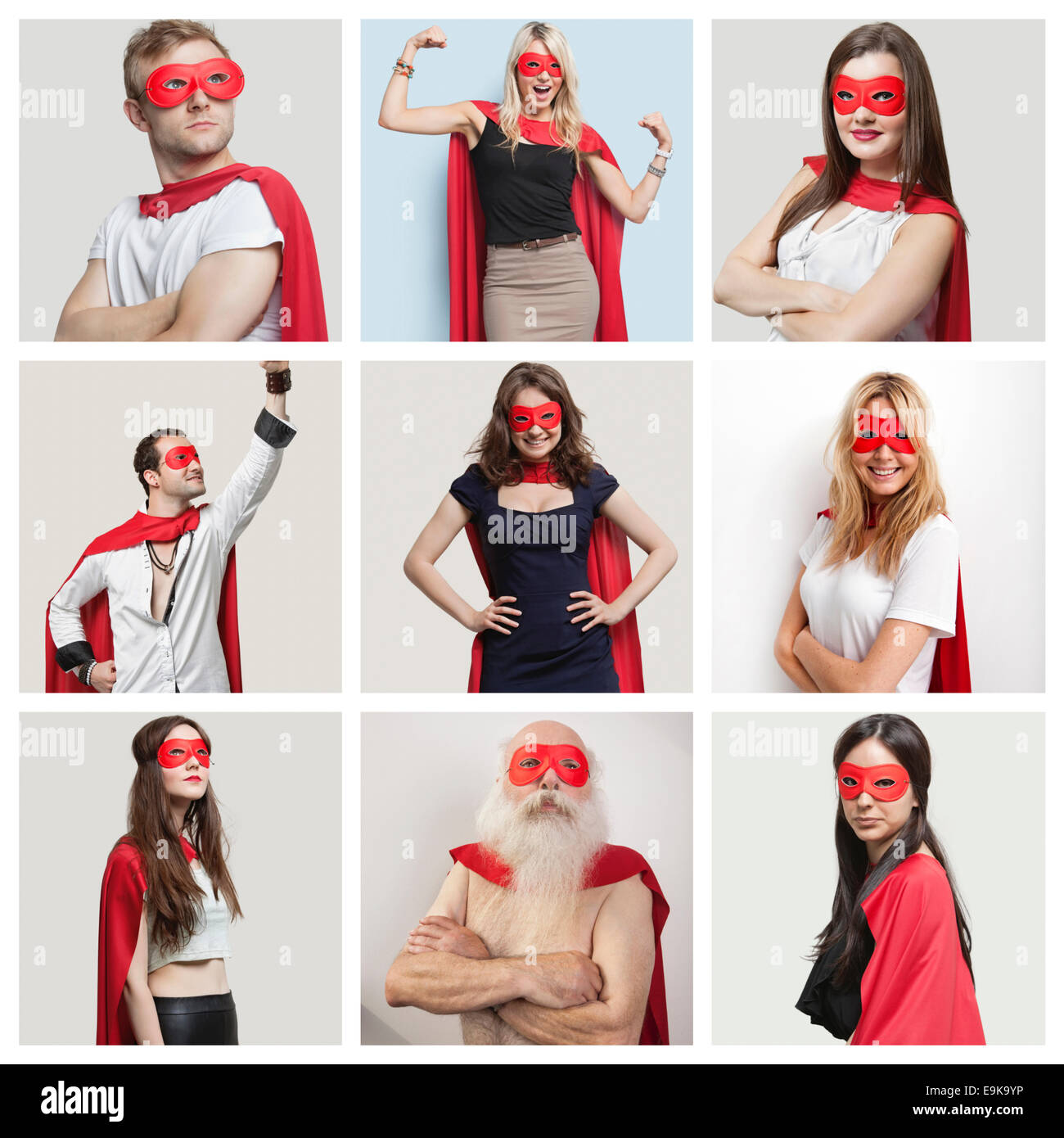 Collage de seguros de personas vestidas con trajes de superhéroe Imagen De Stock