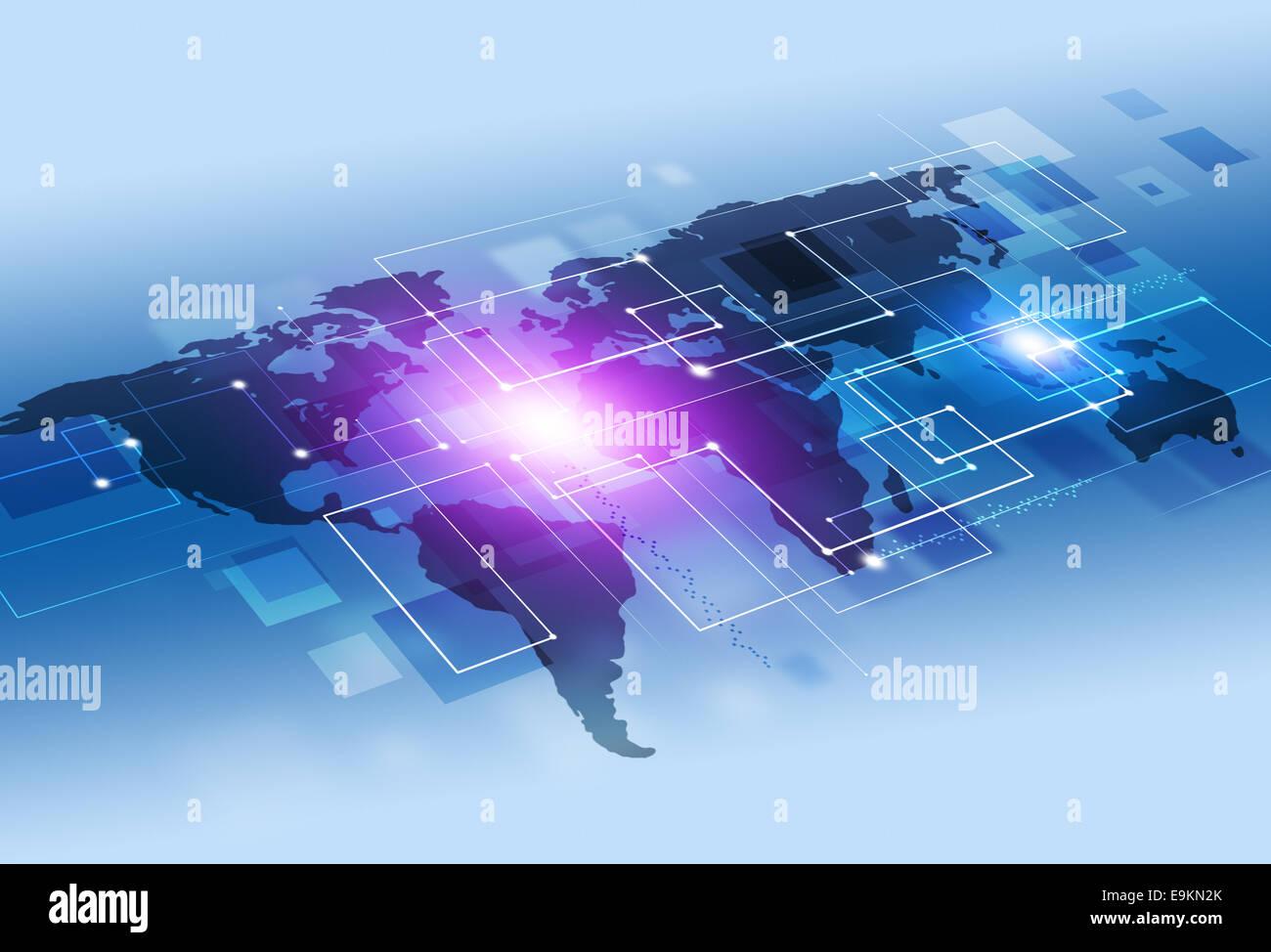 La tecnología de conexiones abstractas y antecedentes de comunicación empresarial Imagen De Stock