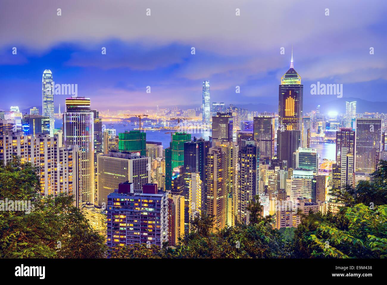 Skyline de Hong Kong, China. Imagen De Stock