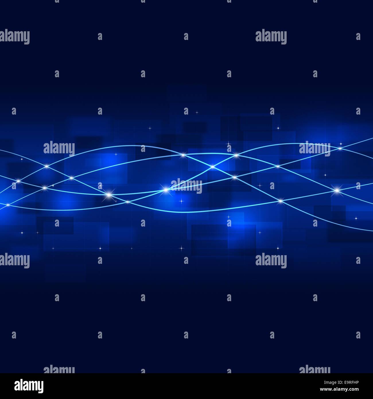 Resumen de tecnología de red global business connection fondo azul Foto de stock