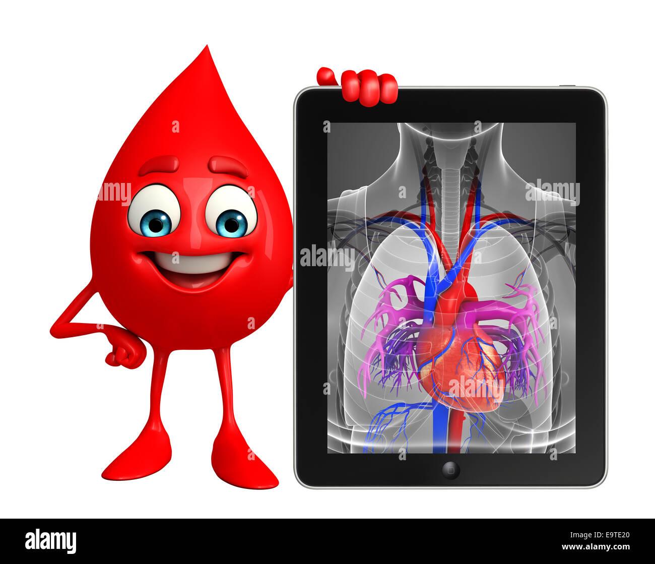 Personaje de dibujos animados de la gota de sangre con la anatomía ...