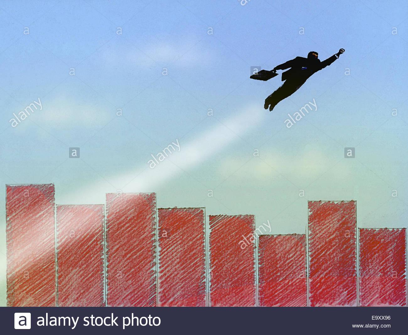 Superhéroe empresario sobrevolando la ciudad de gráfico de barras Imagen De Stock
